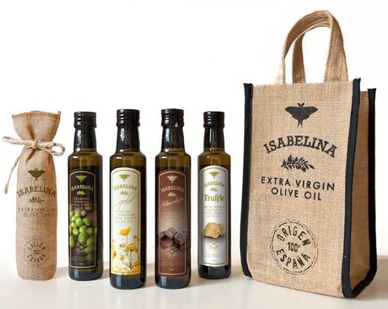 Isabelina Olive Oil Label and Bags